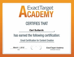 ExactTarget Certification