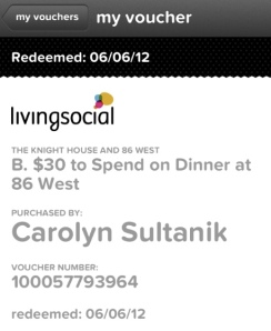 Living Social 86 West Voucher