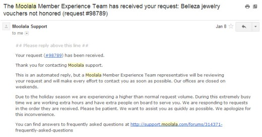 Moolala automated reply