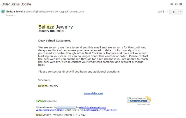 Belleza won't honor voucher