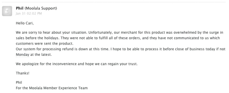 Moolala update email
